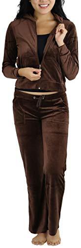 ToBeInStyle Women's Regular Drawstring Pants w/Hoodie Sweatshirt New Velour Set - Large/Size: 6-8 - Brown