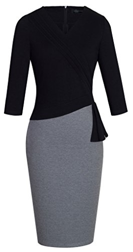 Buy black 3/4 length sleeve bodycon dress - 4