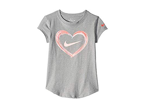 Nike Kids Baby Girl's Digital Analog Heart Script Short Sleeve Tee (Toddler/Little Kids) Dark Grey Heather -