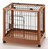 Mobile Pet Pen - Wood and Wire - Small (Wood Grain/Metal) (25.2''L x 18.1'' W x 22.4''H)
