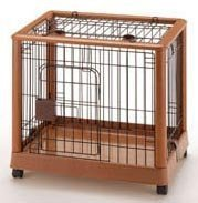 Mobile Pet Pen – Wood and Wire – Small (Wood Grain/Metal) (25.2″L x 18.1″ W x 22.4″H) For Sale