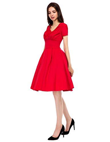 ... mixinni® 50er Vintage V-Ausschnitt Rockabilly Kleid Retro Faltenrock  Cocktailkleid Partykleid Sommerkleid mit Ärmel ...