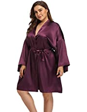 Super Shopping-zone Women's Plus Size Satin Robes Short Silky Bathrobes Bridesmaid Party Dressing Gown