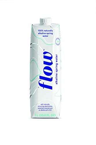 Flow Alkaline Spring Water, 100% Natural Alkaline Water, Eco-Friendly Packaging, Refreshing Taste, Boxed Mineral Water, Natural Electrolytes, Water with pH, Non-GMO, BPA-Free, Pack of 6 x 1L
