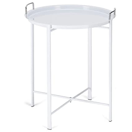 White Metal Tray Table Round End Table Sofa Side Table Living Room Bedroom