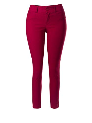 Instar Mode Women's Classic Stretch Bengaline Slim Long Ankle Length Office Pant,Ipaw029 Red,Medium