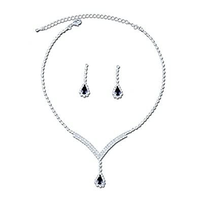 Topwholesalejewel Jewelry Set Rhinestone V Shpe Necklace Drop Earrings For Wedding