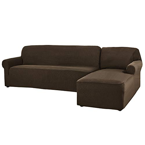 CHUN YI 2 Pieces L-Shaped Jacquard Polyester Stretch Fabric Sectional Sofa Slipcovers (Right Chaise(2 Seats), Coffee)