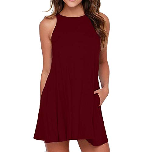 Women's Simple Solid Color Sleeveless Dress Casual Loose Round Neck Pocket Mini Skirt Wine