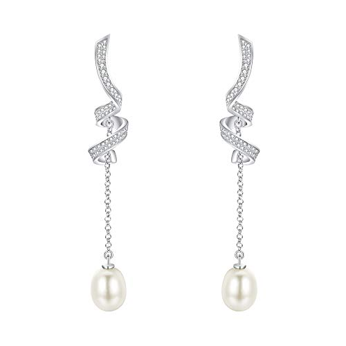 (ELeQueen Women's 925 Sterling Silver Cubic Zirconia Ivory Freshwater Cultured Pearl Twisted Dangle Earrings)