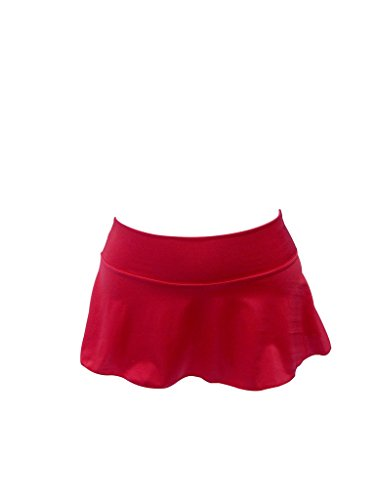Flair Mini Skirt - Delicate Illusions Sexy Dance Clubbing Hot Mini Soft Short Stretchy Flare Skirt for Women M (7-9) Red