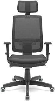 Cadeira Escritório Presidente Brizza Plaxmetal Autocompensador Slider Braço 3D Poliéster Apoio Cabeça Preta