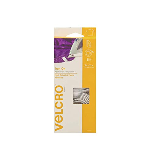 VELCRO Brand 91029C for | Iron On Tape for Alterations and Hemming | No Sewing or Gluing | Heat Activated for Thicker Fabrics | Cut-to-Length Roll, 5 ft x 3/4 in in, White ()