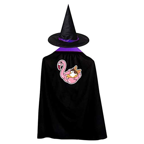Swan And Cozy Dog Kids' Witch Cape With Hat Simple Vampire Cloak For Halloween Cosplay Costume