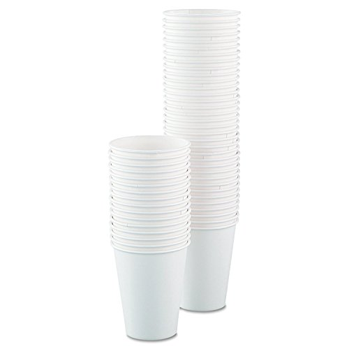 SOLO Cup Company 378W2050 Single-Sided Poly Paper Hot Cups, 8oz, White (125 ()