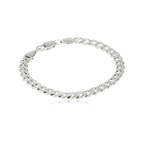 Sterling Silver Men's 5mm Solid Sterling Silver .925 Curb Link Chain Necklace, Made in Italy- Available in multiple ()