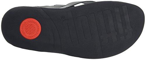 Fitflop Surfer Leather Sandal, Sandalias de Punta Descubierta Para Hombre Negro (Black)