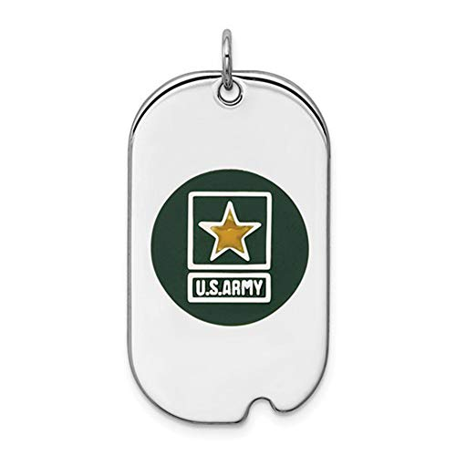 Solid .925 Sterling Silver Rhod-plated US Army Star Dog Tag 34 mm