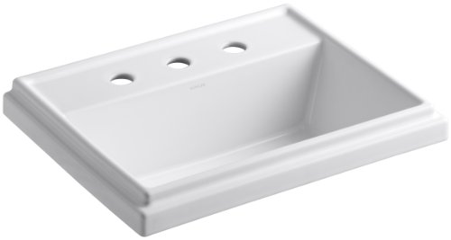 KOHLER K-2991-8-0 Tresham Rectangle Self-Rimming Bathroom Sink with 8-inch Widespread Faucet Drilling, White