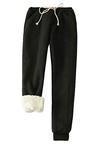 Flygo Womens Casual Running Hiking Pants Fleece Lined Activewear Sweatpants (Medium, Black)