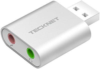 TECKNET Tarjeta de Sonido USB, Tarjeta de Sonido Externa Audio y Microfono 3.5mm para su Ordenador o Laptop Conecta Altavoces estéreo, Auriculares y micrófono (Silver)