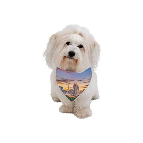 AIKENING Pet Dog Cat Bandana Horizon Landscape Horizontal City Color Fashion Printing Bibs Triangle Head Scarfs Kerchief Accessories for Large Dog Pet Birthday Party Easter Gifts]()