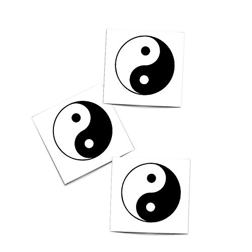 Tattoo Moments Religious Faith Temporary Tattoos - Yin Yang Temporary Tattoo - Perfect for Arm or Wrist (3 Tattoos)