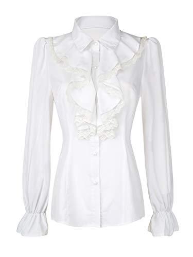 Women's Vintage Victoria Ruffle Shirt White Lace Ruffled Lotus Shirt Blouse Tops XL ()