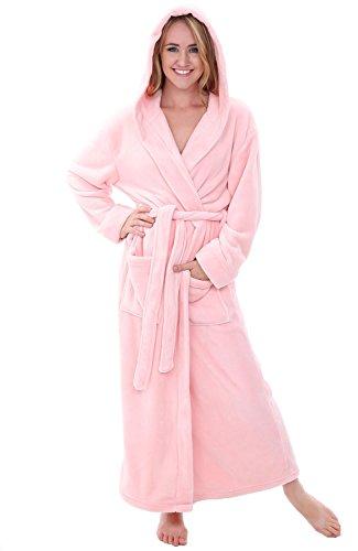 - Alexander Del Rossa Womens Plush Fleece Robe with Hood, 1X 2X Pink Rose Quartz (A0116RSQ2X)