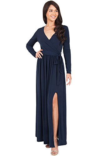 KOH KOH Womens Long Sleeve V-Neck Cross Over High Slit Cocktail Evening Gown Maxi Dress – Large, Navy blue