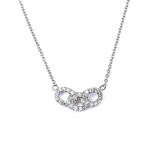 blackbox Jewelry Sterling Silver White Cubic Zirconia Triple Interlocking Circles 18
