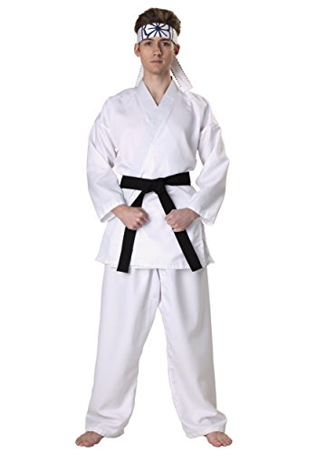 Karate Kid Daniel San Licensed Adult Mens Black Belt Costume - L -