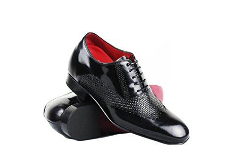 Con Taglia Interno Nero Aumentato Zerimar 100 Alta 7 Pelle Scarpe Stile Cm 42 Colore In Di Realizzata Qualità Casual Tq5tB