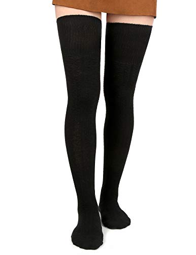 (Women Thigh High Socks Black Over the Knee Leg Warmer Girls Tall Long Stockings, 1)