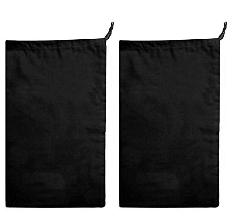 Earthwise Boot Storage Bag Shoe Cover 100% Cotton MADE IN THE USA in Black with Drawstring for storing and protecting boots (Pack of 2) ()