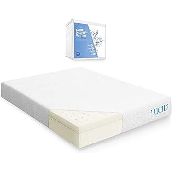 LUCID 10 Inch Latex Foam Mattress - Ventilated Design - CertiPUR-US Certified Foam - 10 Year Warranty - California King with LUCID Encasement Mattress ...