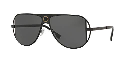 Versace Man Sunglasses, Silver Lenses Metal Frame, 57mm (Versace Sonnenbrillen Billig)
