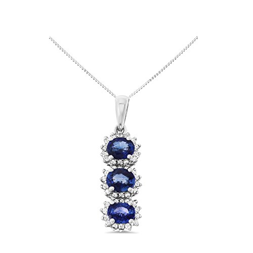 Natural Blue Sapphire Pendant - 1.46CTW 18K White Gold Genuine Natural Blue Sapphire and Diamond Pendant With Square Box Chain Necklace