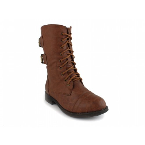 Pack 72 Little Girls Combat Lace Up Boots TAN - stylishcombatboots.com