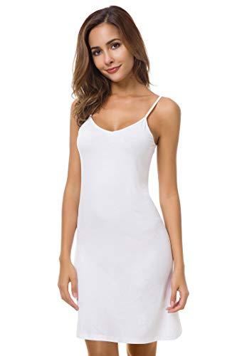 EaseWay Women's Basic Adjustable Spaghetti Strap Cami Under Mini Dress - Full Slip White