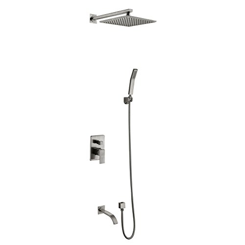 Dalang Shower Faucet System Mixer With Bathtub Spout Brass 8 Inch Square Showerhead High Pressure Rainfall Wall Mounted Faucet Set Ceramic Valve Two Handles Five Holes Nickel Brushed Finish (Wall Ceramic Handle)