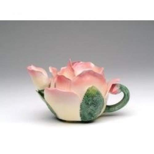 (Pink and White Rose Petal Shaped Teapot with Green Leaf Like Handle)