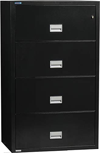 Phoenix Lateral 31 inch 4-Drawer Fireproof File Cabinet with Water Seal, Black