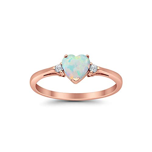 Blue Apple Co. 925 Sterling Silver Ring Rose Tone Rhodium PL Heart Shape Lab Created White Opal and Clear CZ Accent