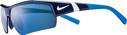 Nike EV0808-414 Show X2 XL R Sunglasses (One Size), Midnight Navy/White/Photo Blue, Grey with Blue Sky Flash/Grey - Sunglasses Tennis Nike