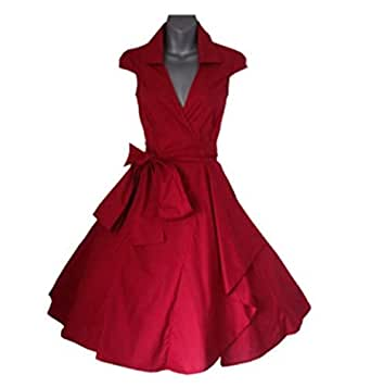 Red Cotton Casual Dress For Women