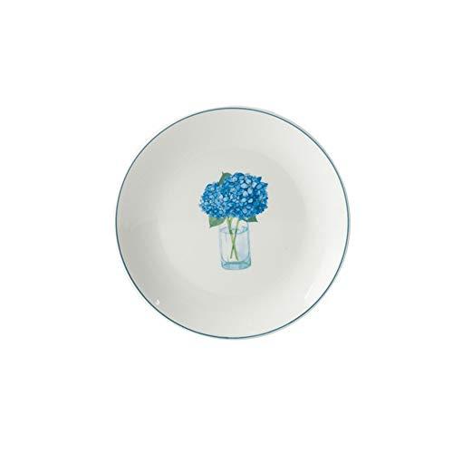 Western-style glazed ceramic tableware blue bouquet pattern light plate plate 15.3cm -