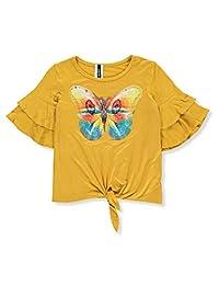 Insta Girl Girls' Flutter Butterfly Flip Sequin Top