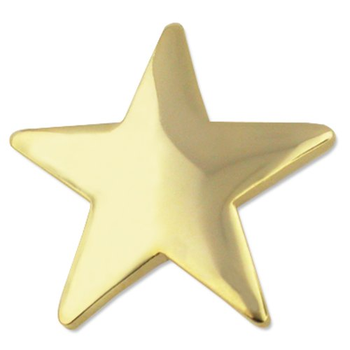 (PinMart Classic Shiny Gold 5 Point Star Military Recognition Lapel)