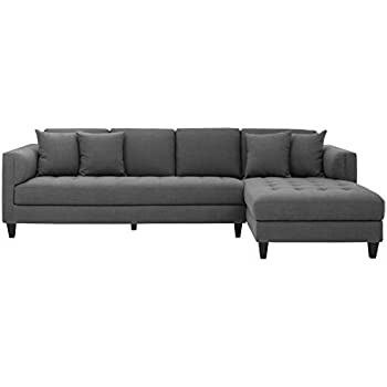 Sunpan Modern 102149 5West Sofa Chaises Grey Fabric